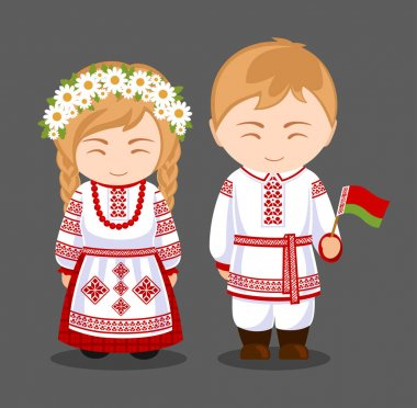Belarusians in national clothes