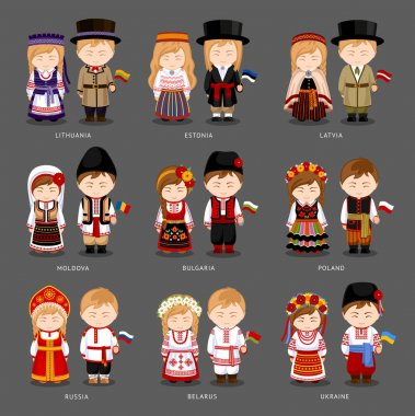 European people in national dress
