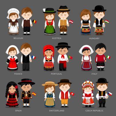 European people in national dress.