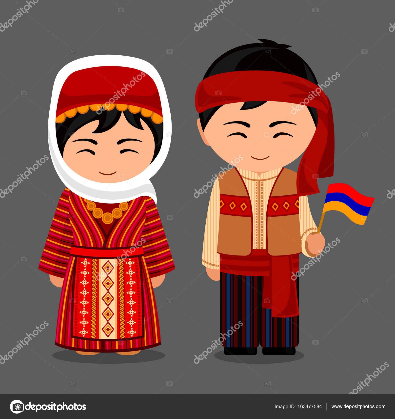 Жінка і чоловік у традиційних костюмах. Подорож до Вірменії. Вектор плоскої  ілюстрація — Вектор від arizona--dream f1d5883df4d3b