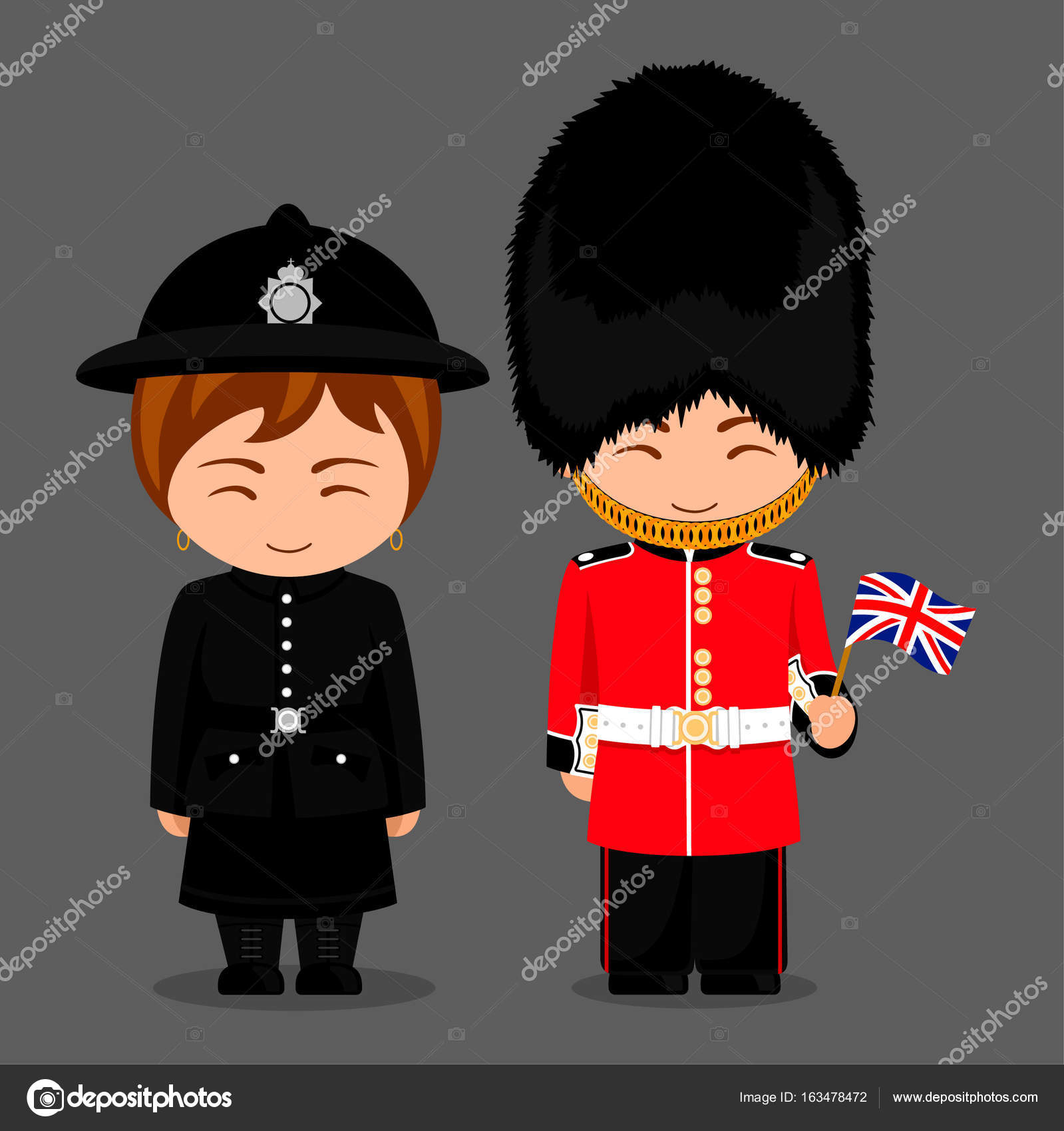 British People Police Woman And Royal Guard With A Flag Stock