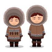 Fotografie Eskimos in national clothes