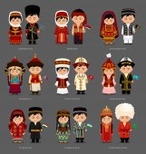 Azerbaijanis, Afghans, Tajiks, Uzbeks, Mongols, Turkmens, Kazakhs, Kirghiz, Armenians. People in national clothes