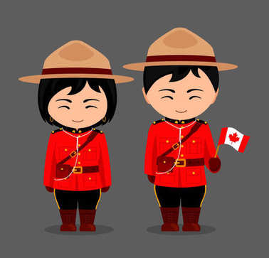 Canadians in national dress with a flag. Royal Canadian Mounted Police.