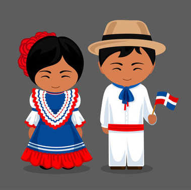 Dominicans in national dress with a flag.