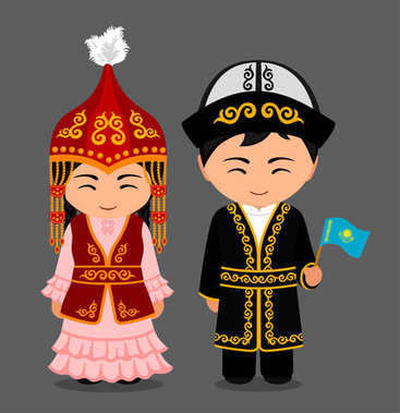 Kazakhs in national clothes