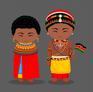 Kenyans in national clothes with a flag. Samburu tribe.