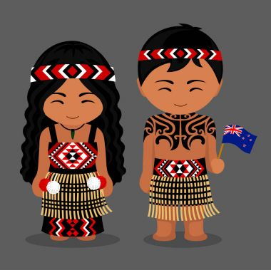 Maori in national clothes. New Zealanders
