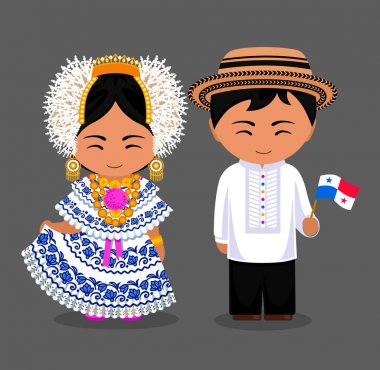 Panamanians in national clothes