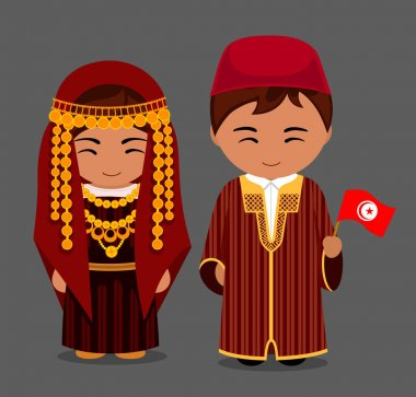 Tunisians in national clothes