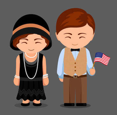 Americans in national clothes