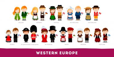 Europeans in national clothes. Western Europe.