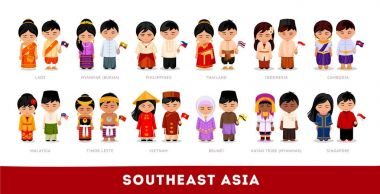 Asians in national dress. Southeast Asia.