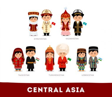 Asians in national dress. Central Asia.