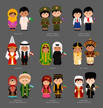 People in national dress.