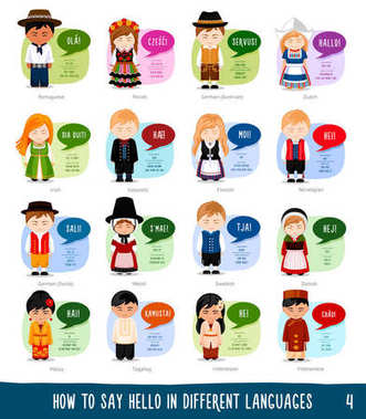 Cartoon characters saying hello in different languages.