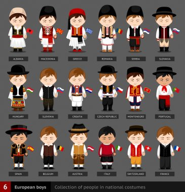 European boys in national dress with flag.