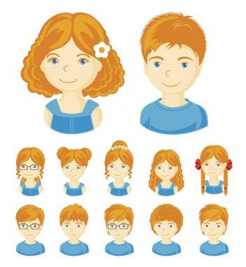 Ginger children face set.