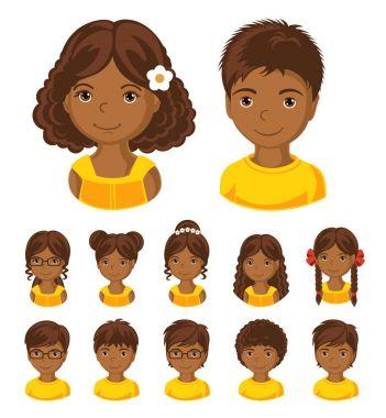 African children face set.