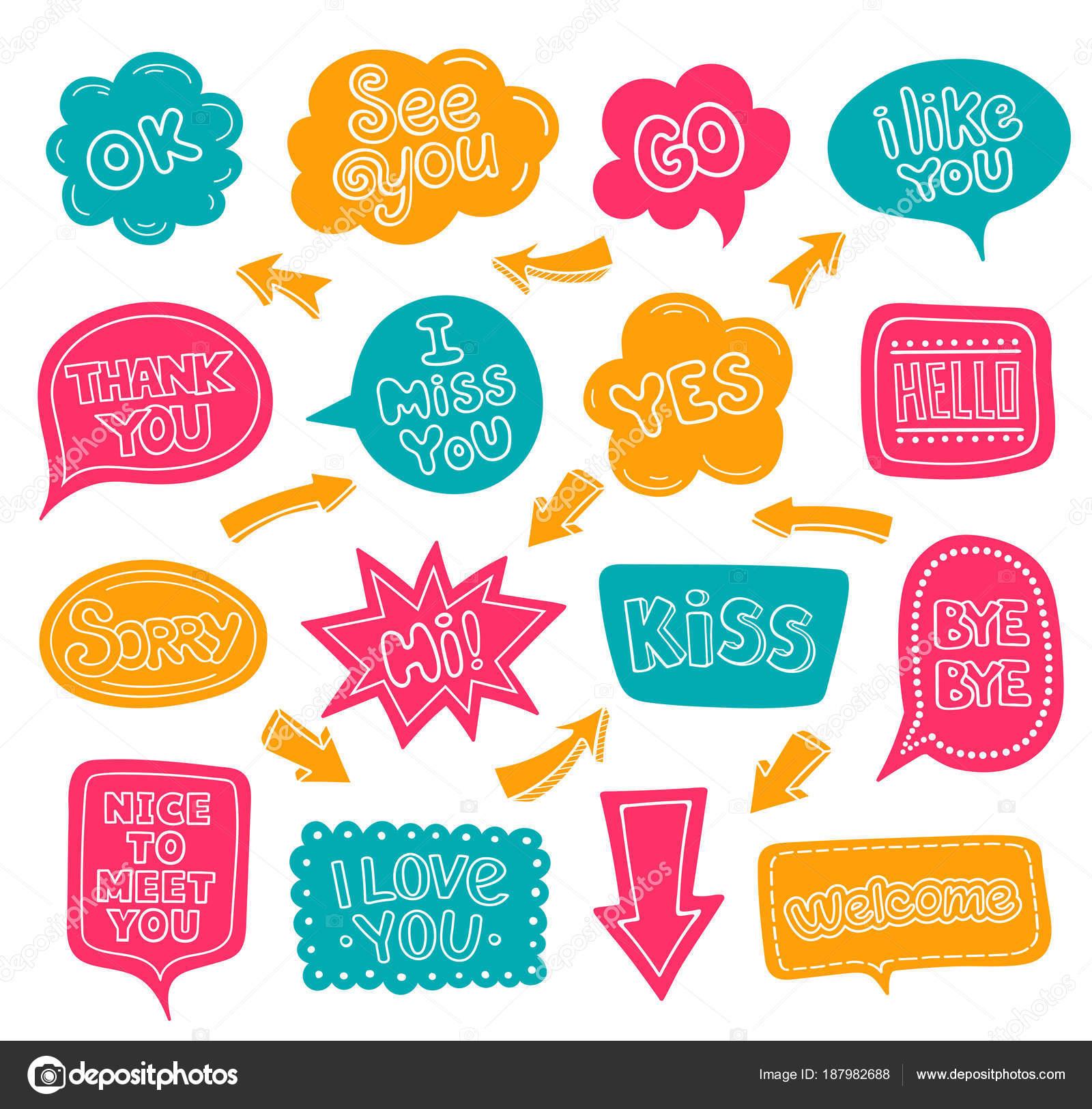 Dibujos Etiquetas Bonitas Con Frases Nubes De Dialogo Multicolor