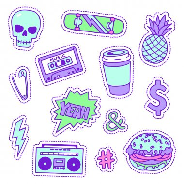 Set of neon trendy color patches