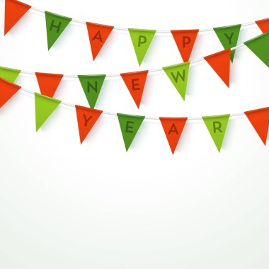 Colorful realistic vector flag garland with letters. Party template.