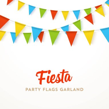 Colorful realistic vector flag garland with shadow. Party template.