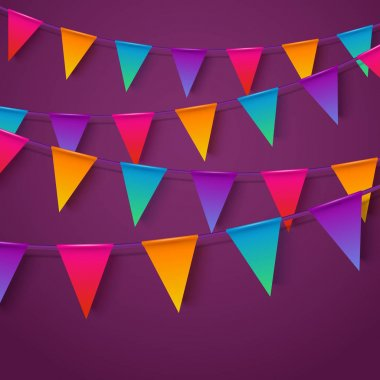 Neon realistic vector flag garland with shadow. Party template.