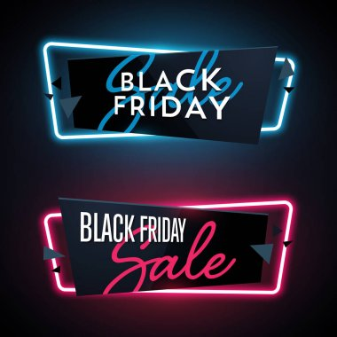 Set of geometric Black Friday neon vector banners.
