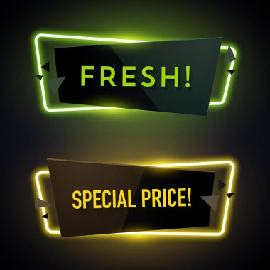 yellow and green geometric neon banners