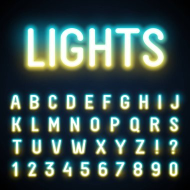 Glowing neon tube font