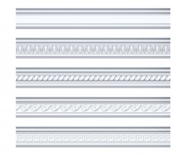 Collection of different classical cornices isolated on white