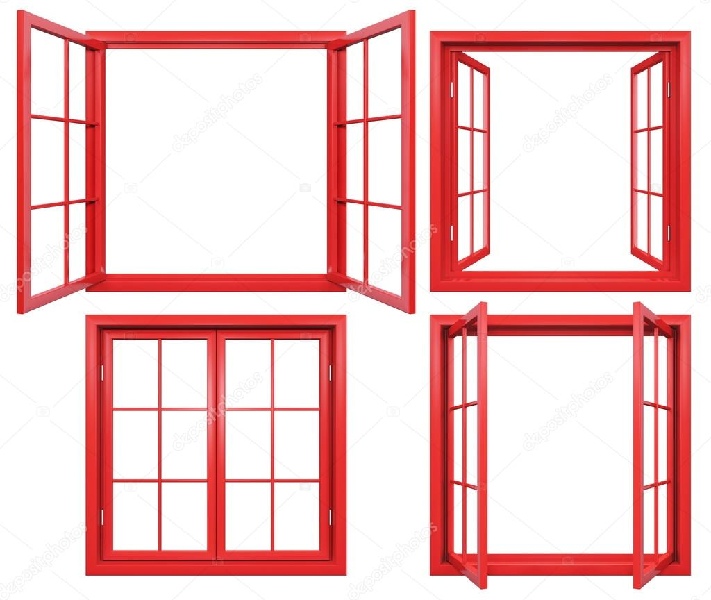 Collection of red window frames isolated on white — Stock Photo ...