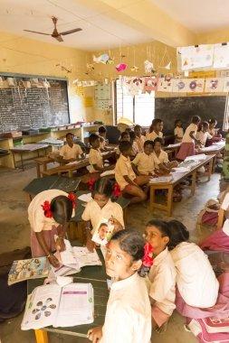 Editorial documentary image. School children