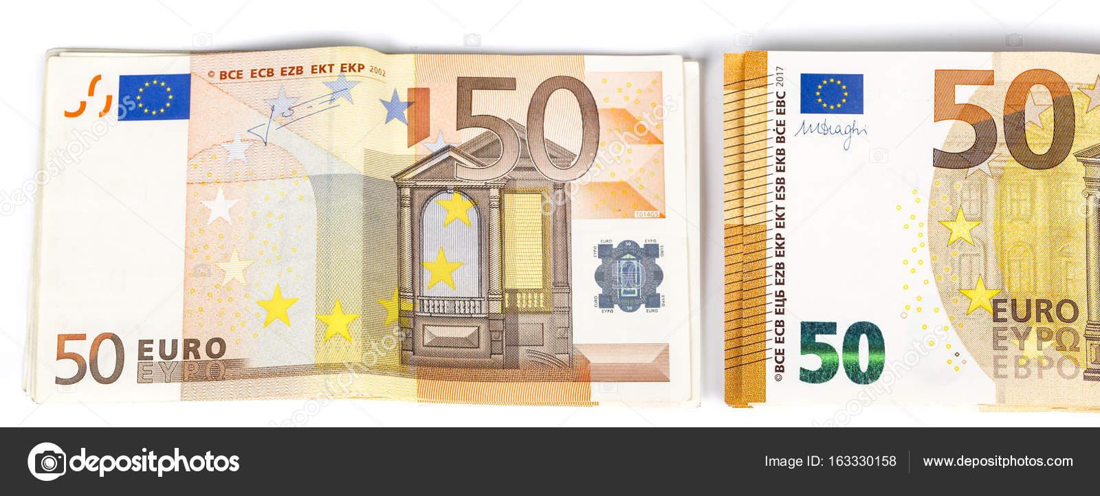 Pilule De Bill Papier Billets De 50 Euros 2 Differents Billets De
