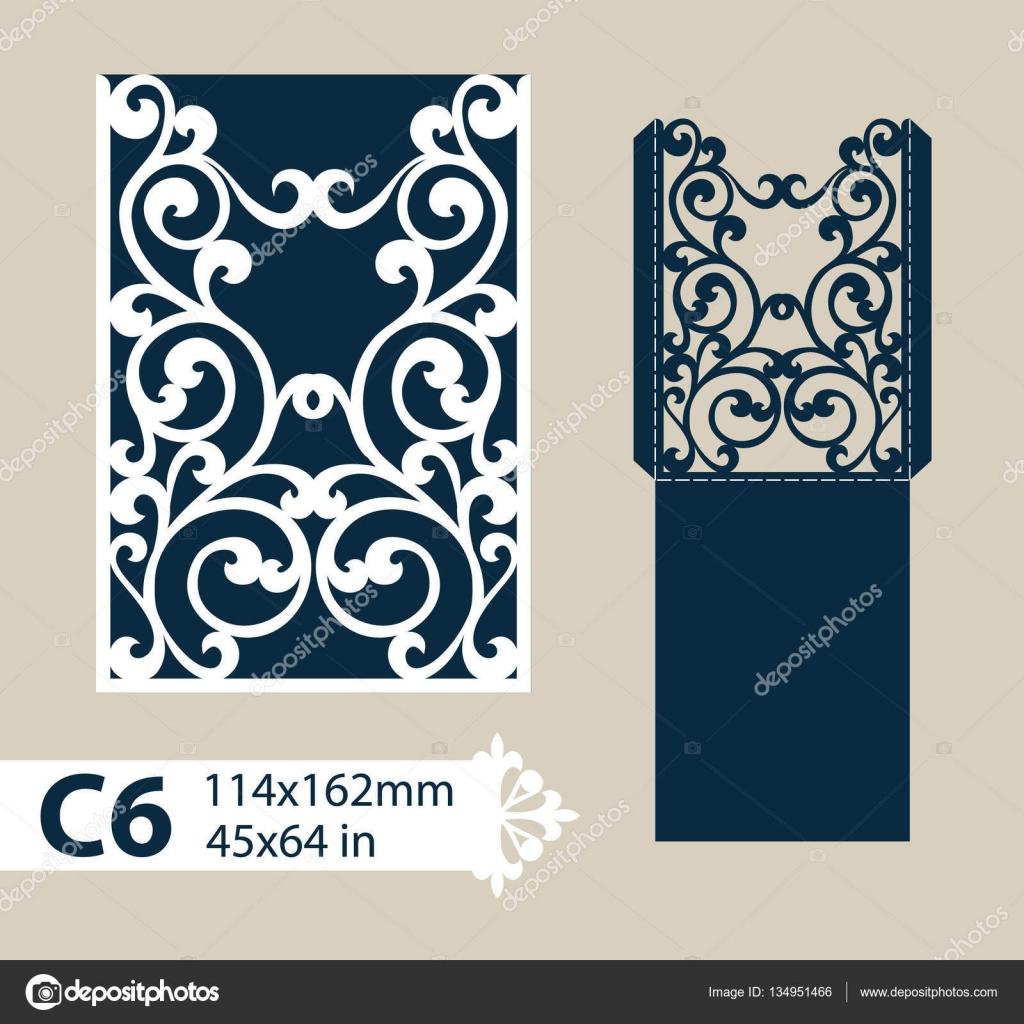 template congratulatory envelope with carved openwork pattern