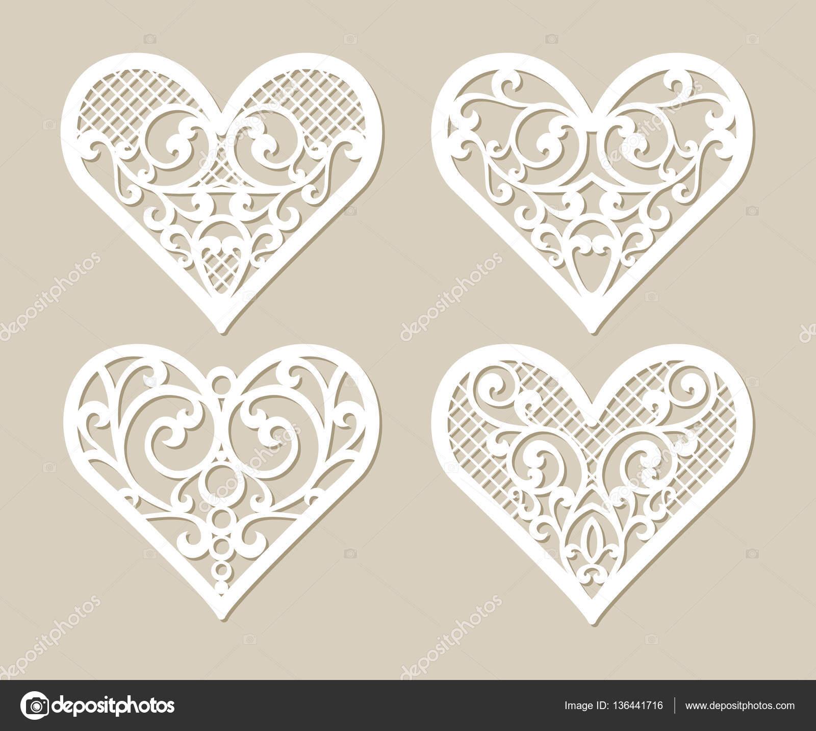 Plantilla corazones encaje con el patrón calado tallado — Archivo ...