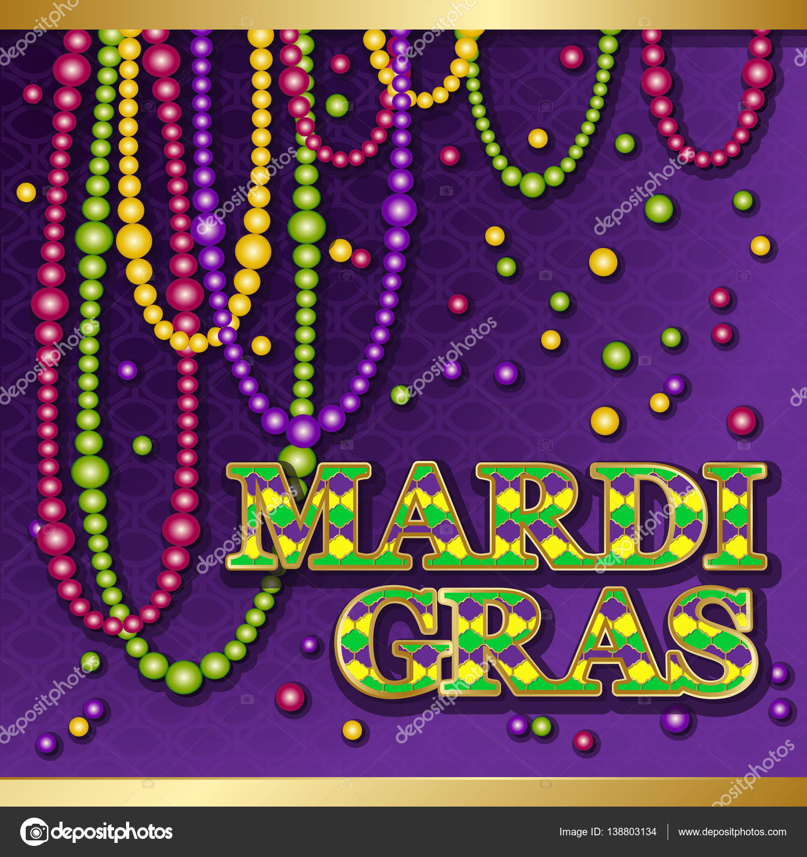 Mardi gras background stock vector galinaalex 138803134 mardi gras background vector golden text fat tuesday on french language greeting cards with shining beads on traditional colors backdrop m4hsunfo
