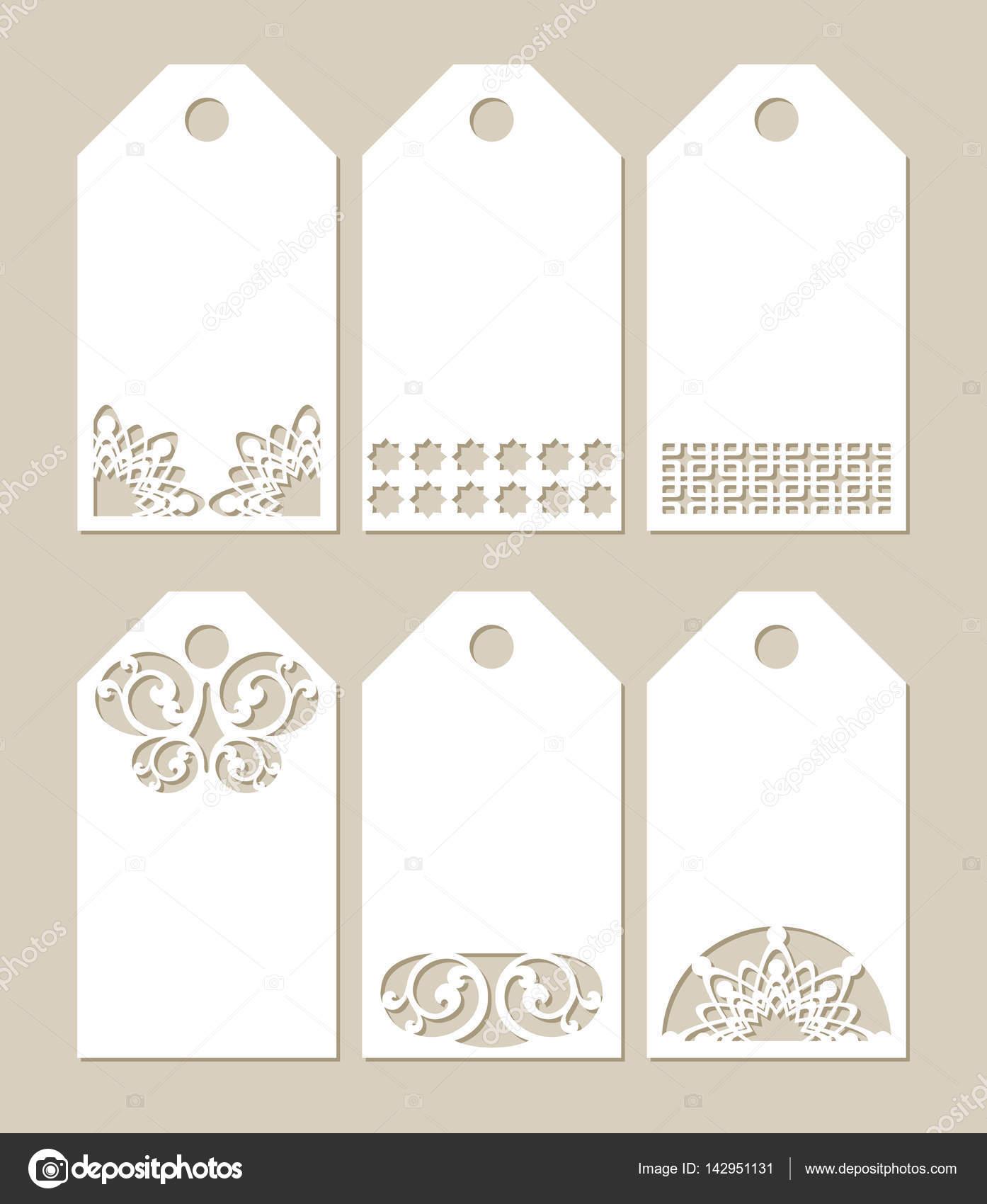 Establecer etiquetas de plantilla con el patrón tallado — Vector de ...