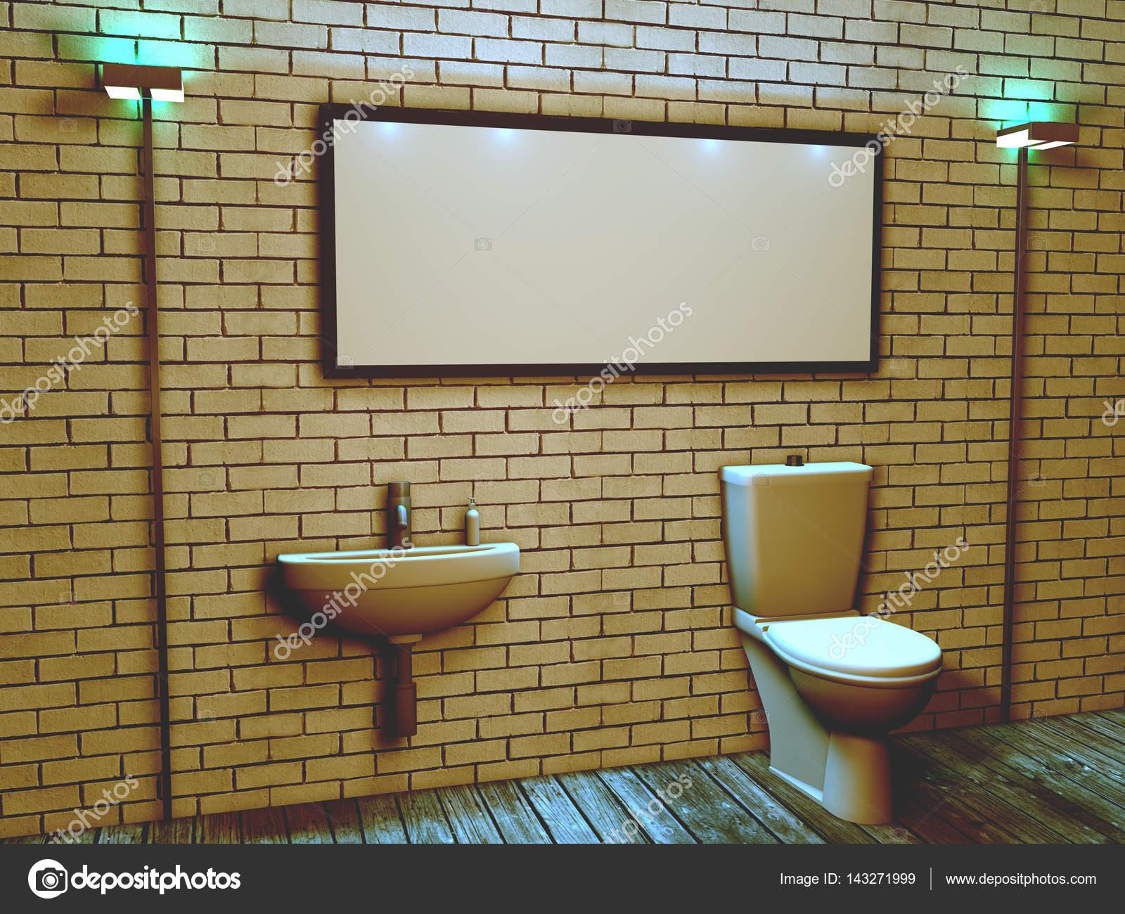D interieur van het toilet in een loft stijl u stockfoto