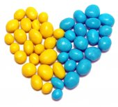 Ukraine heart flag of sweet candy