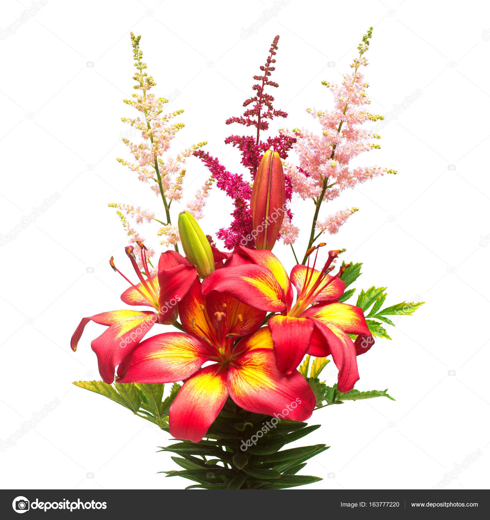 Flowers of lily and astilbe in a bouquet isolated on white backg flowers of lily and astilbe in a bouquet isolated on white backg stock photo izmirmasajfo