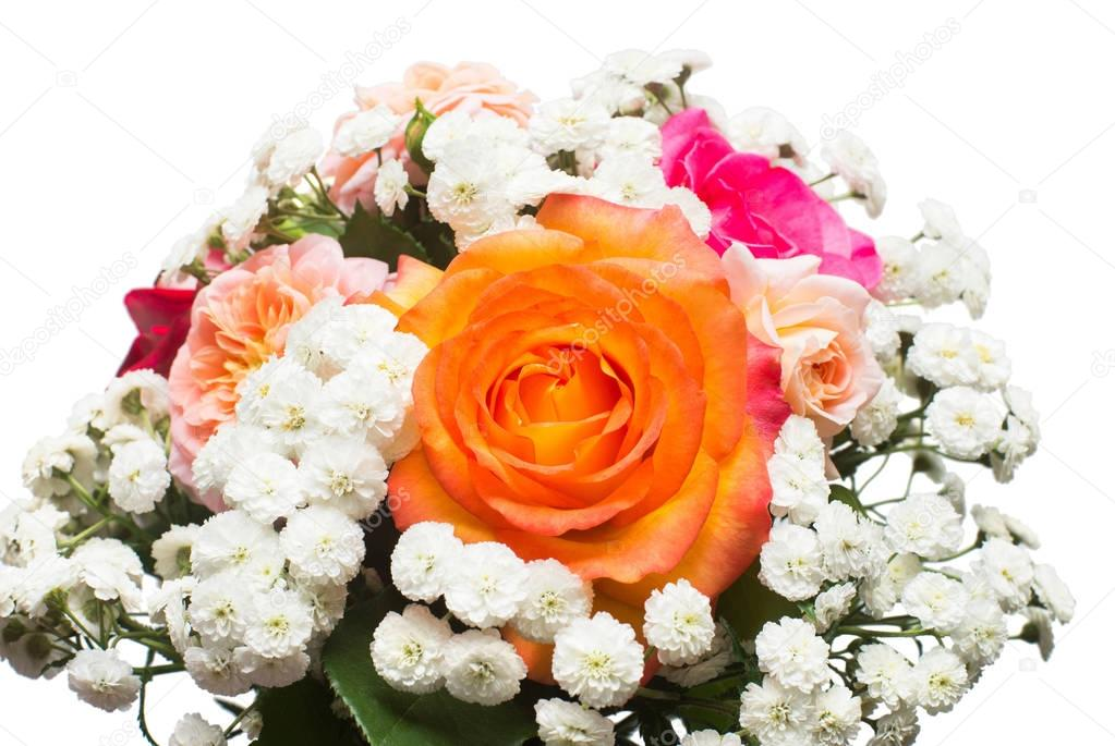 A bride's bouquet of beautiful roses and yarrow isolated on whit