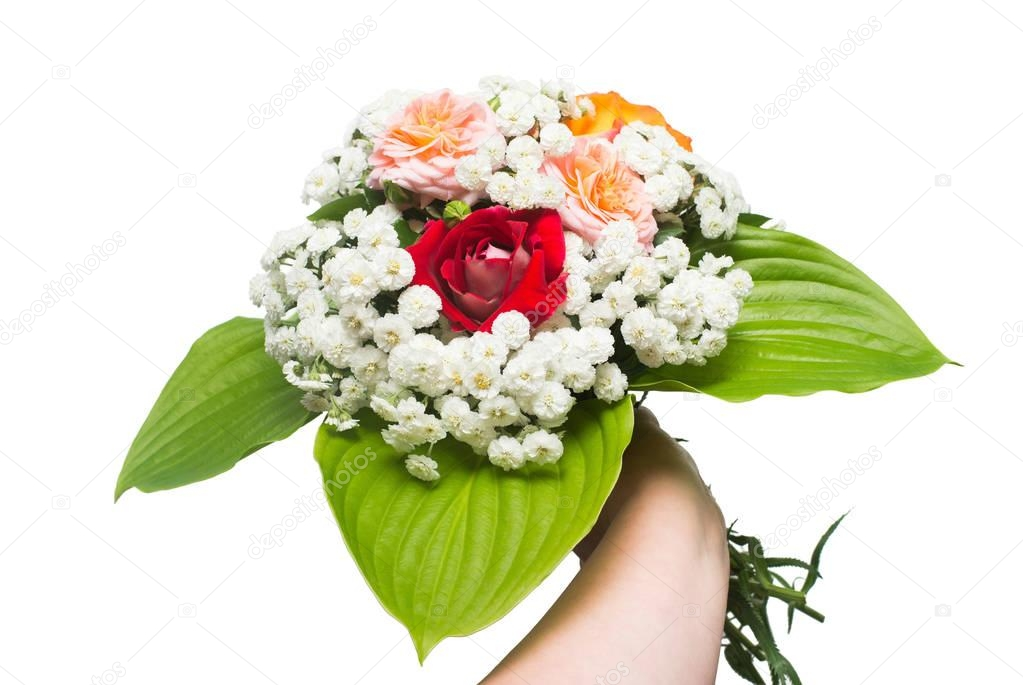 A bride's bouquet of beautiful roses and yarrow with hosta leaf