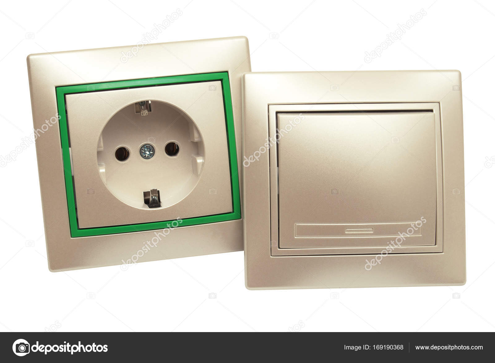 Outlet and light switch isolated on white background. Home elect ...