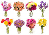 Fotografie Collection of bouquets flowers astra, gerbera, dahlia, gladiolus
