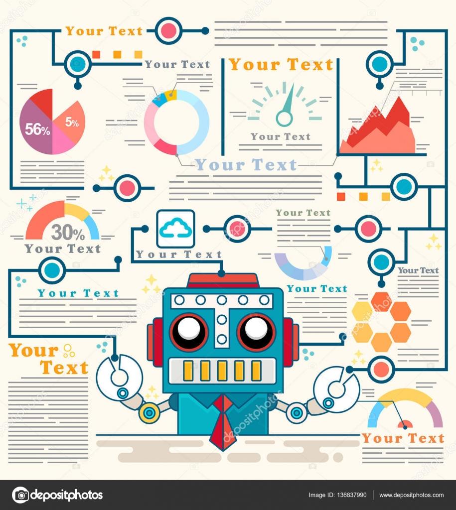 Plantilla gráfico información de pie de robot con seguridad frente a ...