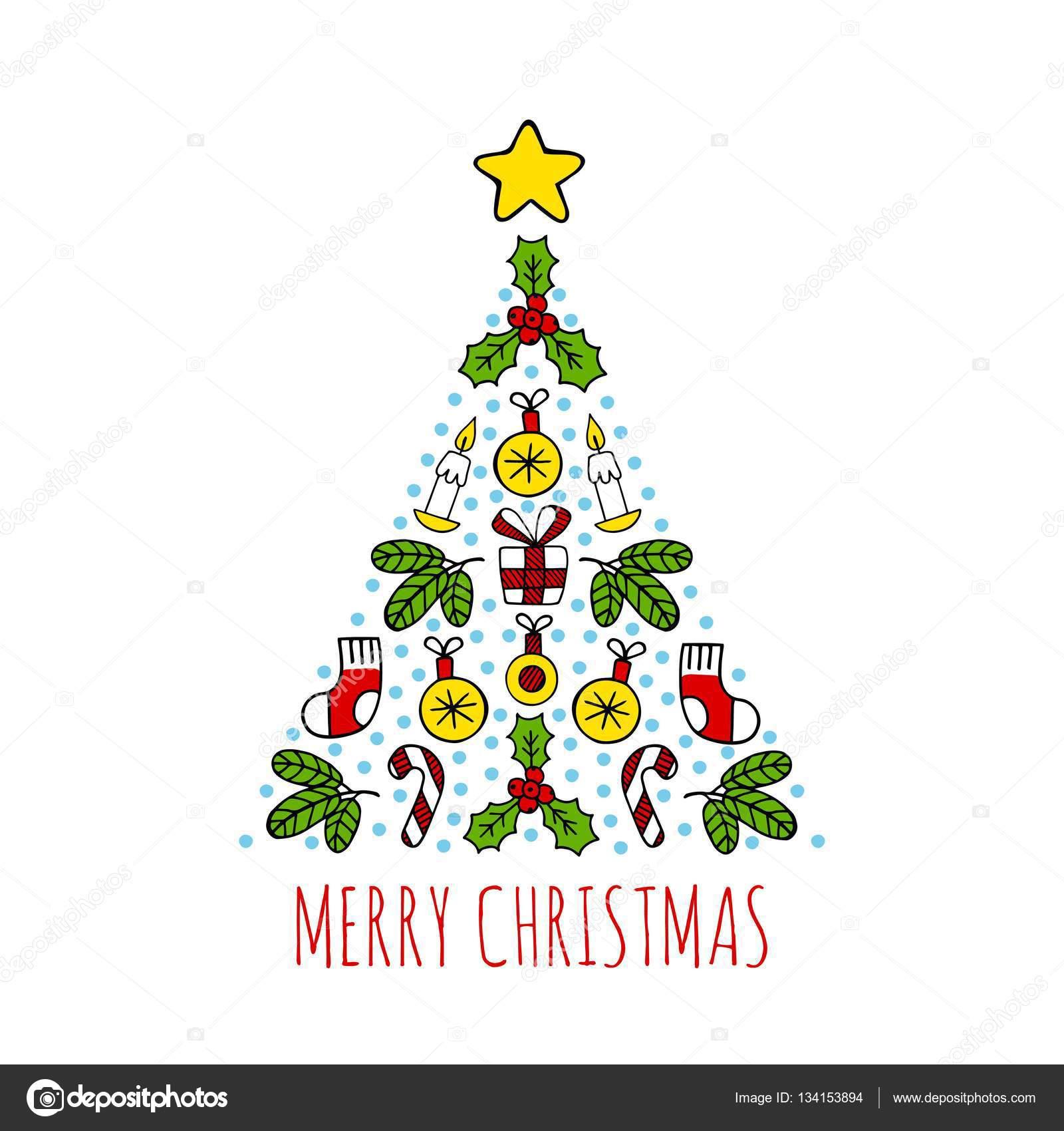 Dibujos Arbol De Navidad Dibujo A Color Iconos De Dibujo Color