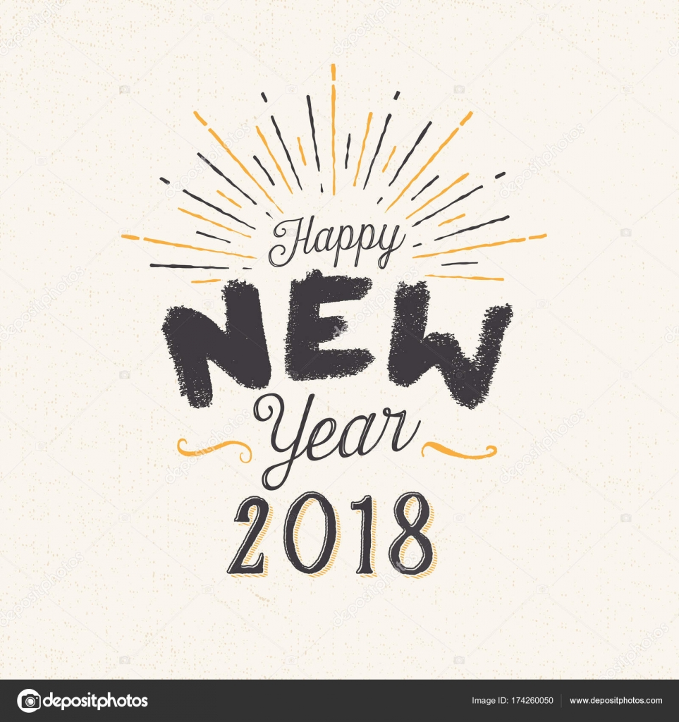 handmade style greeting card happy new year 2018 stock vector