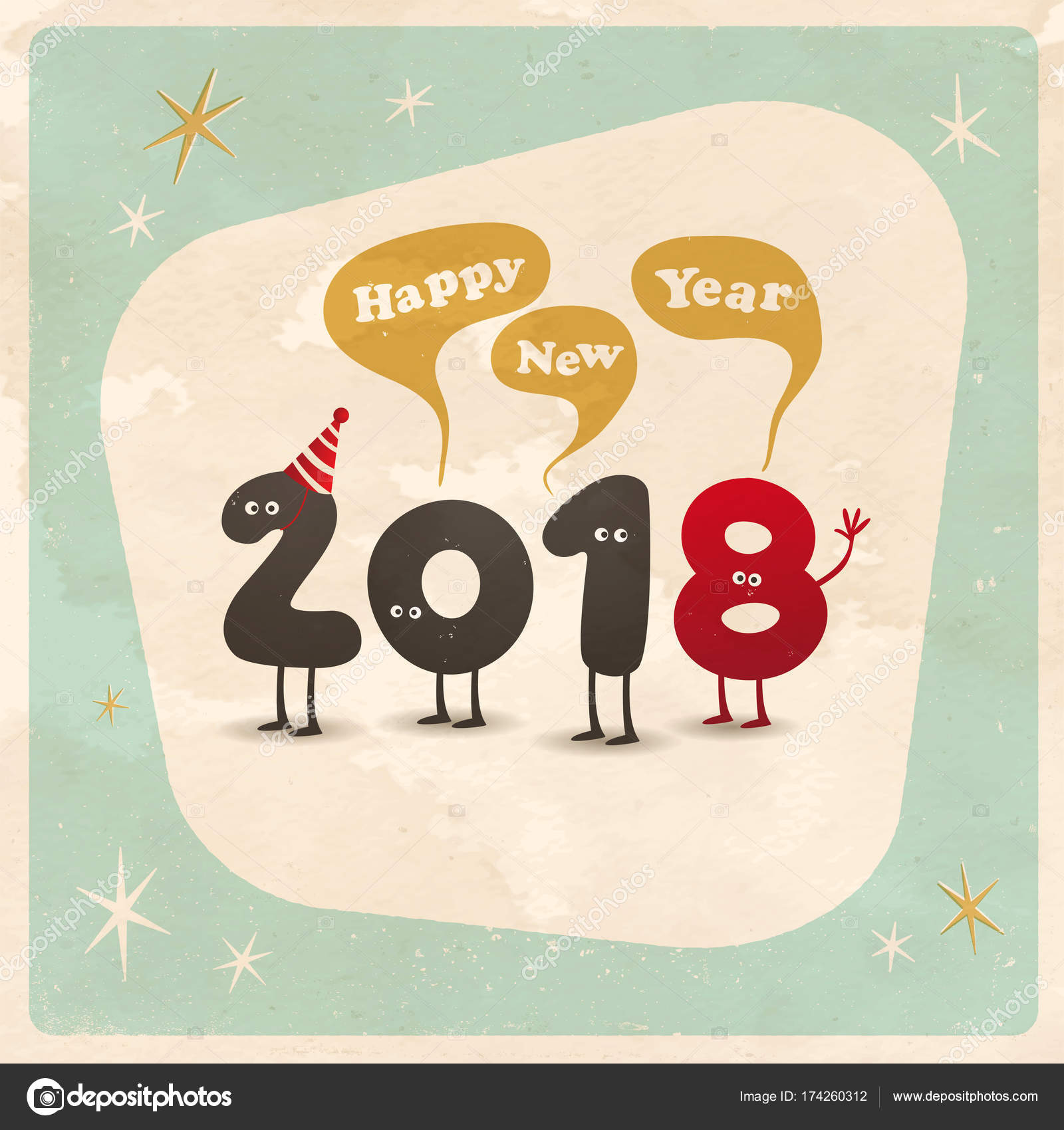vintage style funny greeting card happy new year 2018 stock vector 174260312